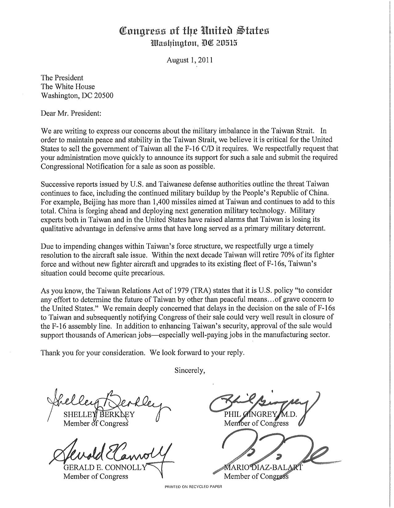 letter to president barack obama