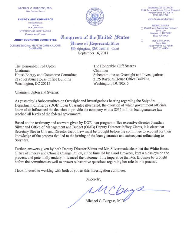 Us congressman michael c burgess 26th district of texas uploadedfiles09162011lettertochairmanuptonandstearnsrequestingsecretarychutestifyg spiritdancerdesigns Images